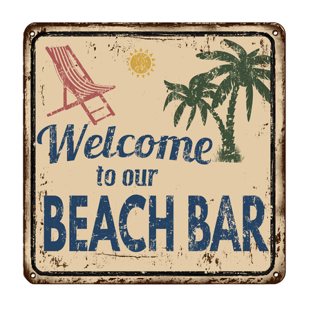 patina: Beach bar vintage rusty metal sign on a white background, vector illustration