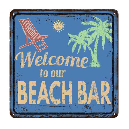 Bar sulla spiaggia su blu segno d'epoca metallo arrugginito su uno sfondo bianco, illustrazione vettoriale