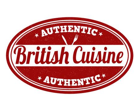 british cuisine: British cuisine grunge rubber stamp on white background, vector illustration