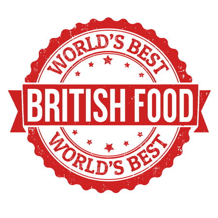 britannia: British food grunge rubber stamp on white background, vector illustration