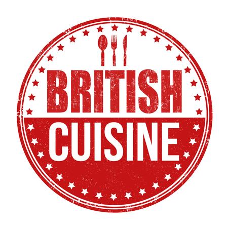 britannia: British cuisine grunge rubber stamp on white background, vector illustration