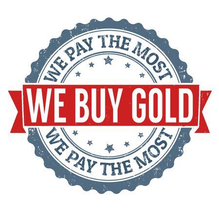 pawn shop: We buy gold grunge rubber stamp on white background, vector illustration