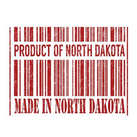 north dakota: Product of North Dakota, made in North Dakota barcode grunge rubber stamp on white background, vector illustration Illustration