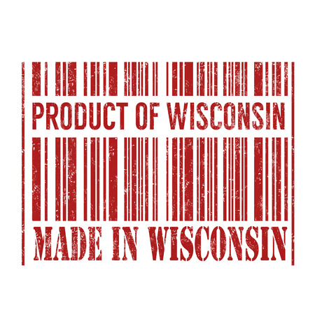 wisconsin: Product of Wisconsin, made in Wisconsin barcode grunge rubber stamp on white background, vector illustration