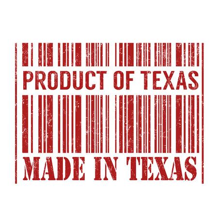 テキサス州テキサス バーコード グランジ スタンプ白地、ベクトル図での製品