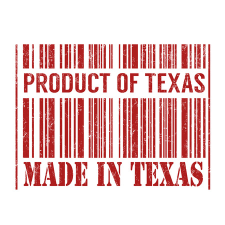 Product of Texas, made in Texas barcode grunge rubber stamp on white background, vector illustration