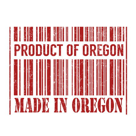 certificated: Product of Oregon, made in Oregon barcode grunge rubber stamp on white background, vector illustration