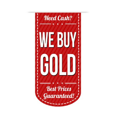 pawn shop: We buy gold banner design over a white background, vector illustration Illustration