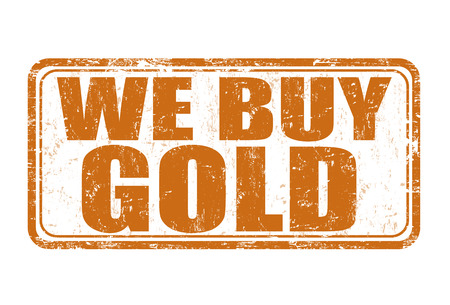 pawn shop: We buy gold grunge rubber stamp on white background, vector illustration