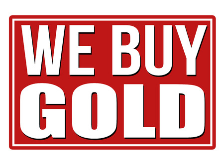pawn shop: We buy gold red sign isolated on a white background, vector illustration