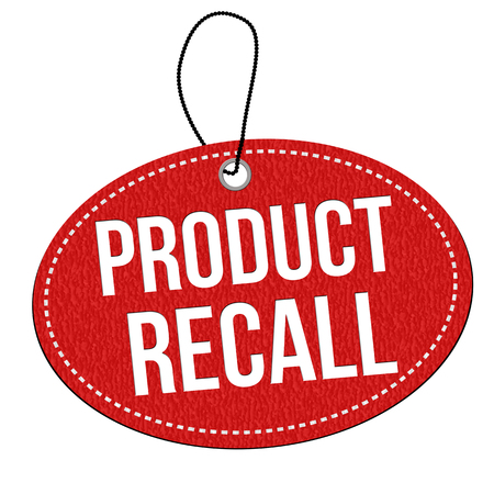 recall: Product recall red leather label or price tag on white background, vector illustration