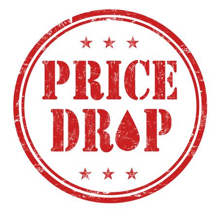 grungy header: Price drop grunge rubber stamp on white background, vector illustration