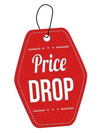 Prezzo goccia etichetta in pelle rossa o cartellino del prezzo su sfondo bianco, illustrazione vettoriale