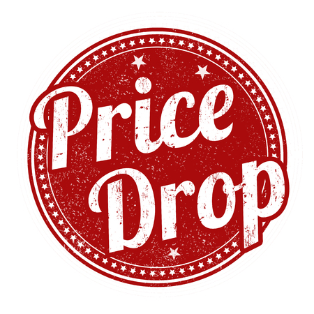 gota: caída de los precios grunge sello de goma en el fondo blanco, ilustración vectorial