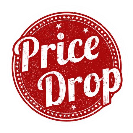 Cena kropla grunge pieczątka na białym tle, ilustracji wektorowych Ilustracje wektorowe