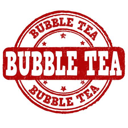 shaken: Bubble tea grunge rubber stamp on white background, vector illustration