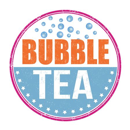 shaken: Bubble tea grunge rubber stamp on white background, vector illustration