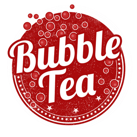 pearl tea: Bubble tea grunge rubber stamp on white background, vector illustration
