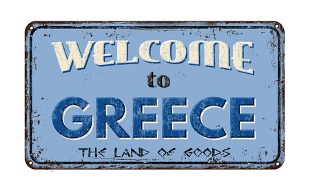 ecard: Welcome to Greece vintage rusty metal sign on a white background, vector illustration
