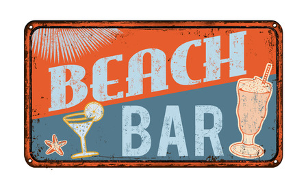 rusty metal: Beach bar vintage rusty metal sign on a white background, vector illustration