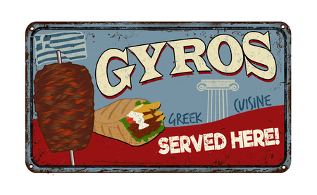 Gyros vintage rusty metal sign on a white background, vector illustration Illustration