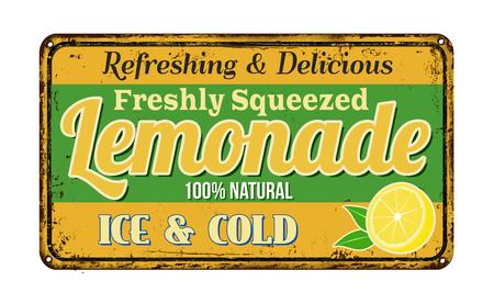 metal plaque: Lemonade vintage rusty metal sign on a white background, vector illustration Illustration