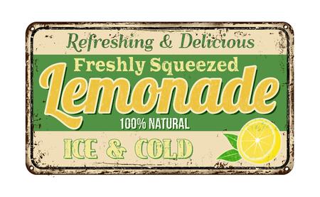 Lemonade segno d'epoca metallo arrugginito su uno sfondo bianco, illustrazione vettoriale Vettoriali