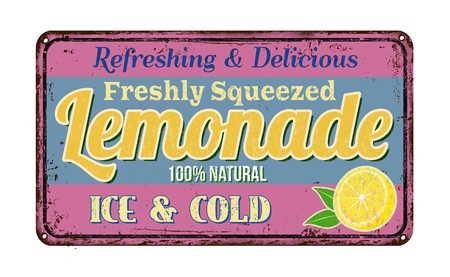 Lemonade vintage rusty metal sign on a white background, vector illustration Illusztráció