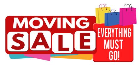 liquidation: Moving sale banner or label for business promotion on white background,vector illustration