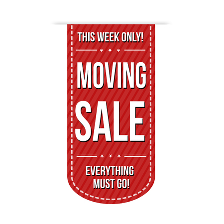 Moving sale banner design over a white background, vector illustration Çizim