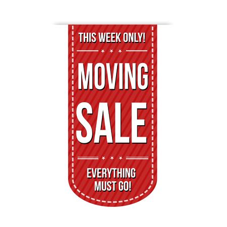 liquidation: Moving sale banner design over a white background, vector illustration Illustration