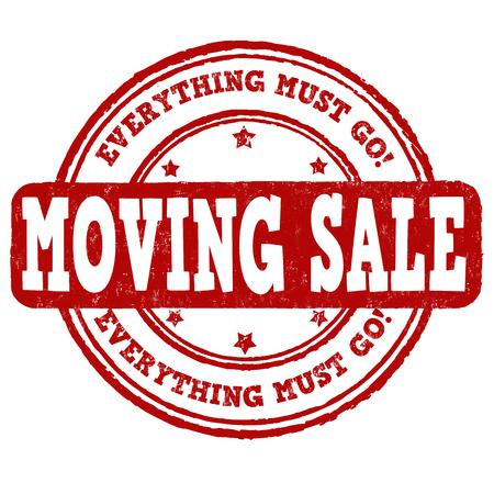 Spostamento di vendita di gomma grunge timbro su sfondo bianco, illustrazione vettoriale