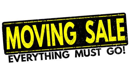 liquidation: Moving sale grunge rubber stamp on white background, vector illustration Illustration