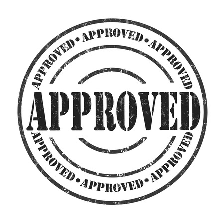 approval button: Approved grunge rubber stamp on white background, vector illustration