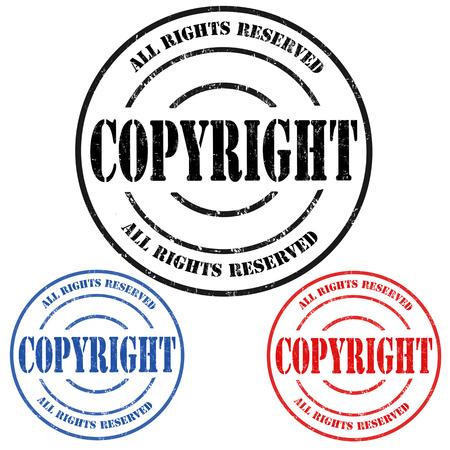 plagiarism: Copyyright grunge rubber stamps on white background, vector illustration Illustration