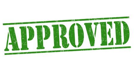 approval label: Approved grunge rubber stamp on white background, vector illustration