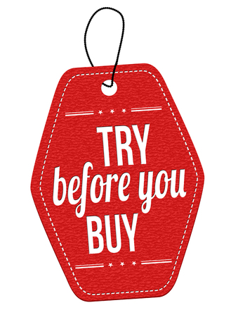 freebie: Try before you buy red leather label or price tag on white background, vector illustration