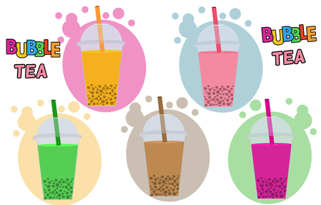 cream tea: Bubble Tea or Tea Cocktail set in different colors, vector illustration
