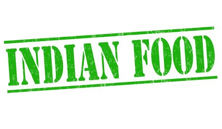 indian food: Indian food grunge rubber stamp on white background, vector illustration