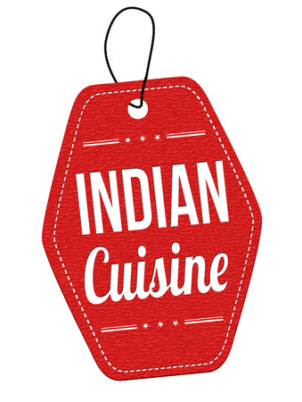 middle eastern food: Indian cuisine red leather label or price tag on white background, vector illustration