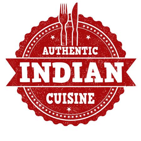 india food: Indian cuisine grunge rubber stamp on white background, vector illustration Illustration