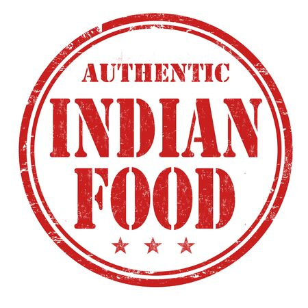 india food: Indian food grunge rubber stamp on white background, vector illustration
