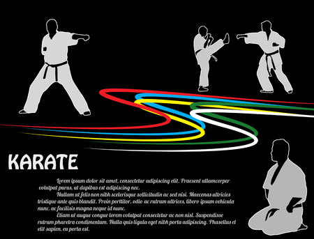 martial art: Karate poster background with fighters silhouettes on black, vector illustration