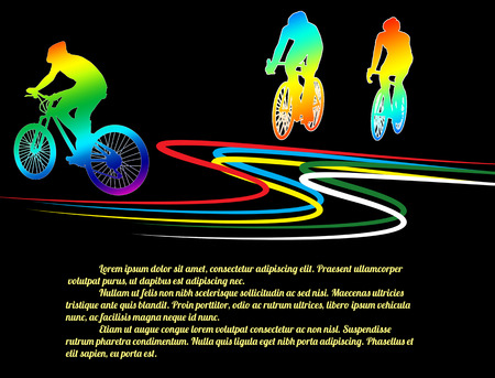 extreme sports: Cycling poster background with cyclists silhouettes on black, vector illustration Illustration