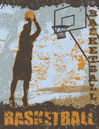 basket ball: Basketball grunge poster background with player silhouette, vector illustration