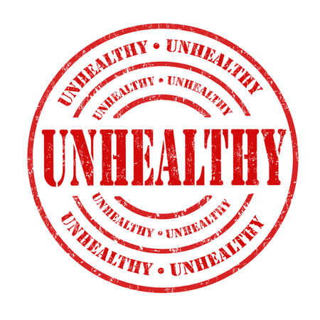 unfit: Unhealthy grunge rubber stamp on white background, vector illustration