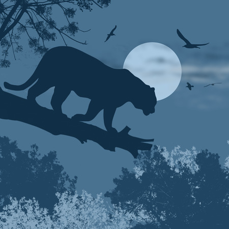 Silhouette view of panther on a tree against the moon at blue night, illustration Illustration