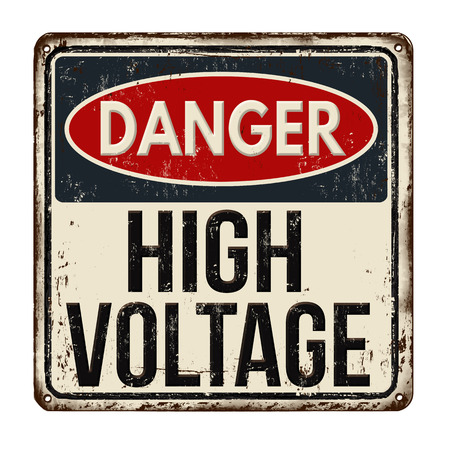 Danger high voltage vintage rusty metal sign on a white background, vector illustration Vettoriali
