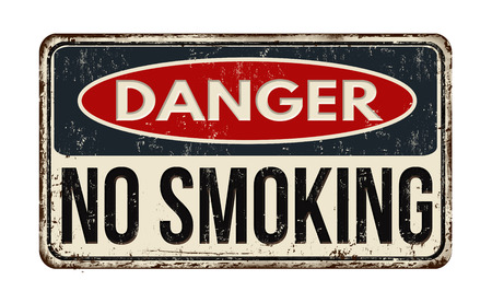 restricted: Danger no smoking vintage rusty metal sign on a white background, vector illustration