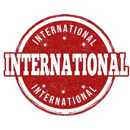 extensive: International grunge rubber stamp on white background, vector illustration